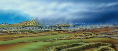 Picture of the painting done by Bernard Pelletier of L'Anse aux Meadows