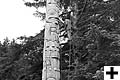 Picture of a pole during its removal to be transfered to the Royal British Columbia Museum.
