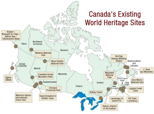 Map of Canada's Existing World Heritage Sites