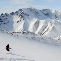 Skiing glacier at Bylot