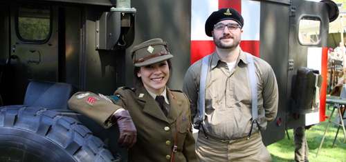 Authentic uniforms and historic military vehicles
