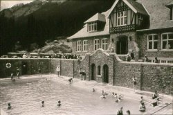 Banff Upper Hot Springs pool and bathers circa 1932