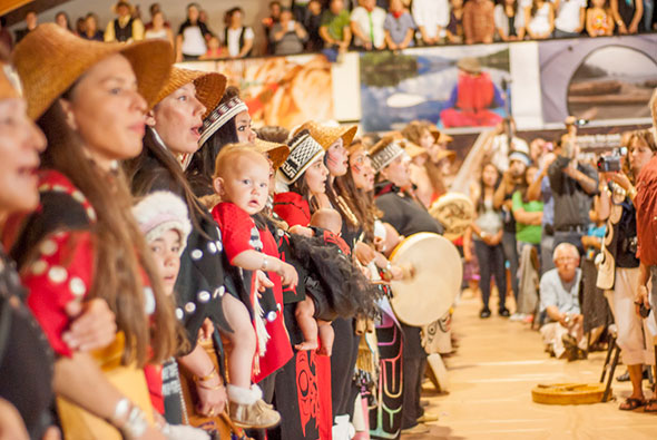 A line of Haida dancers at the Community Celebration