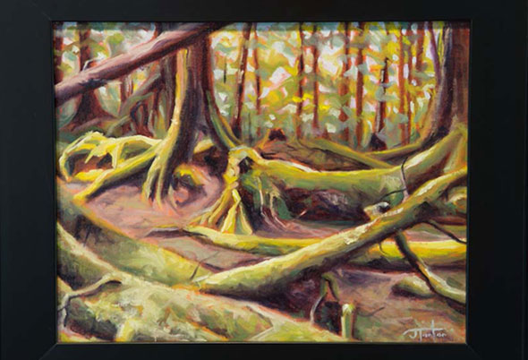 An oil painting of the Gwaii Haanas rainforest by Janice
