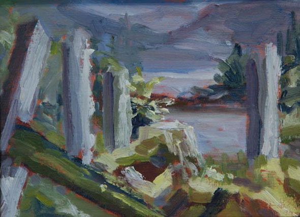 Janice captures the remains of a Haida Village in oil