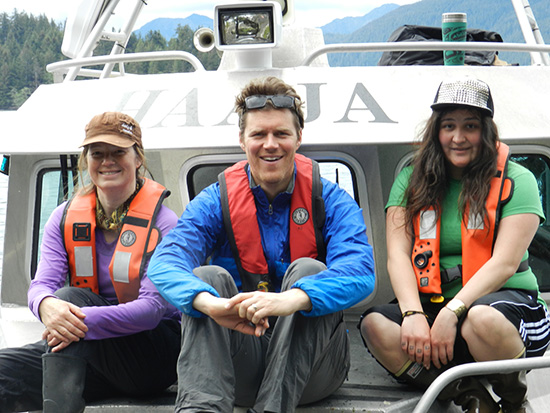 The 2014 program participants on location in Gwaii Haanas (from left: Jayne Patrick, Charlie Easton and Ariane Medley)