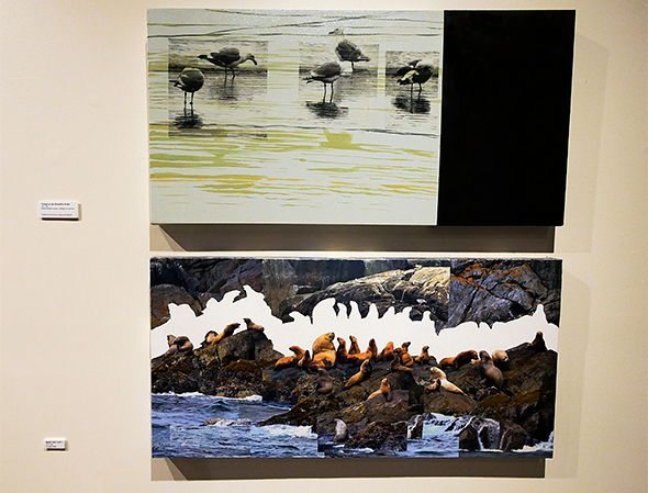 "A mixed-media piece by Jayne Patrick entitled ""Threat to the Beautiful Order"" and another photocollage entitled ""Mind the Gap"""