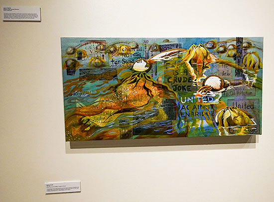 Photo-collage and acrylic on canvas by Jayne Patrick using photographs of signs demonstrating environmental concerns by community members with Kelp, a key species in the marine area