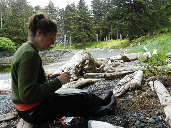 Jayne dabbles in landscape painting, a rarity for this mixed-media artist