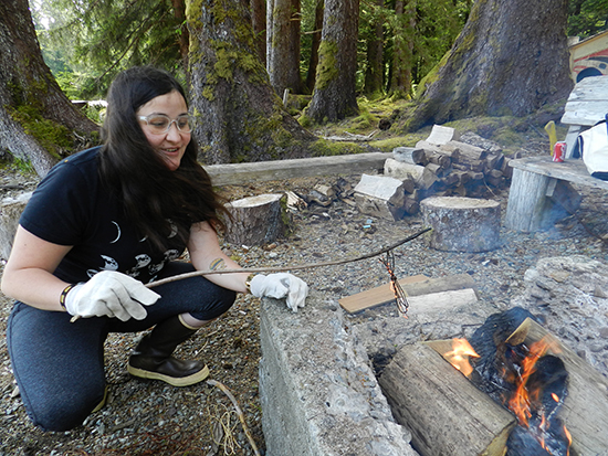 Haida weaver Ariane Medley processes spruce roots at Windy Bay