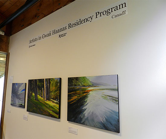Charlie Easton shared his impressions of Gwaii Haanas capturing several beautiful landscapes and seascapes, in acrylic