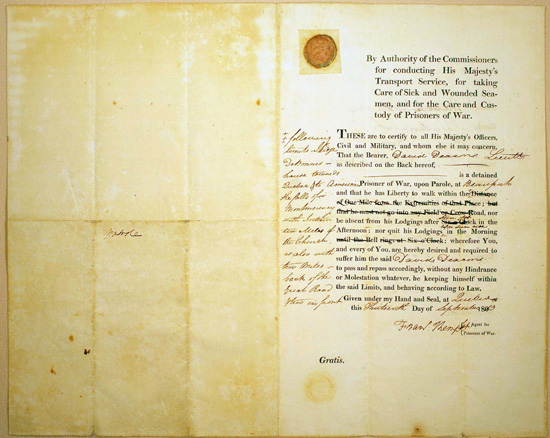 Parole Document, carried by United States Lieutenant David Deacon, Prisoner of War
