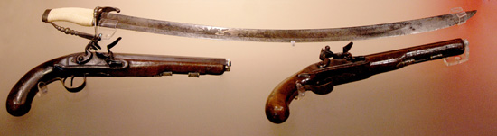 Sword and two pistols of US Brigadier General James Winchester