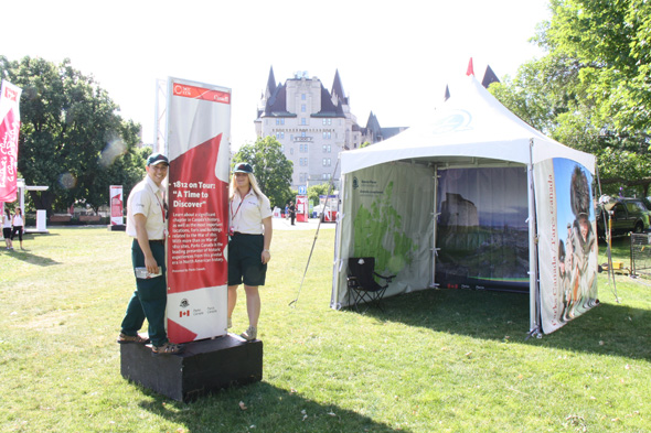 1812 On Tour tents at Major's Hill Park in Ottawa on Canada Day