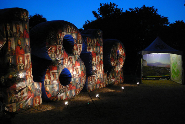 Huge inflatable 1812 numbers on display at the On Common Ground Concert at Fort York National Historic Site in Toronto, Ontario