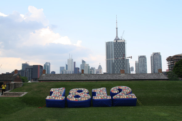 Huge inflatable 1812 numbers on display at Fort York National Historic Site in Toronto, Ontario