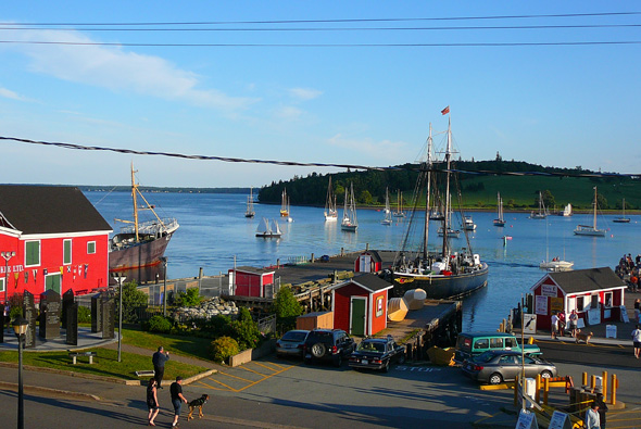 Sailboats and old buildings on the waterfront in Old Town Lunenburg World Heritage Site, Nova Scotia