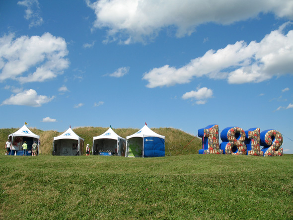 1812 On Tour's huge inflatable 1812 numbers and tents at Fort Beauséjour—Fort Cumberland National Historic Site in New Brunswick