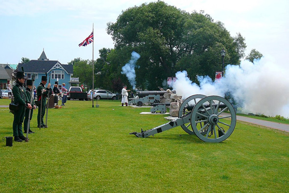 Firing of cannons in Gananoque, Ontario, 2013