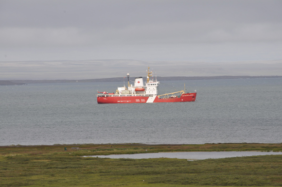 Canadian Coast Guard icebreaker Sir Wilfrid Laurier at anchor off Kugluktuk, Nunavut on August  9, 2011.