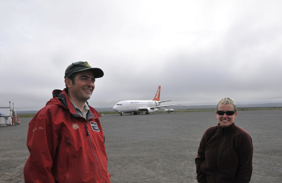 Ryan Harris and Alison Proctor at Kugluktuk airport.