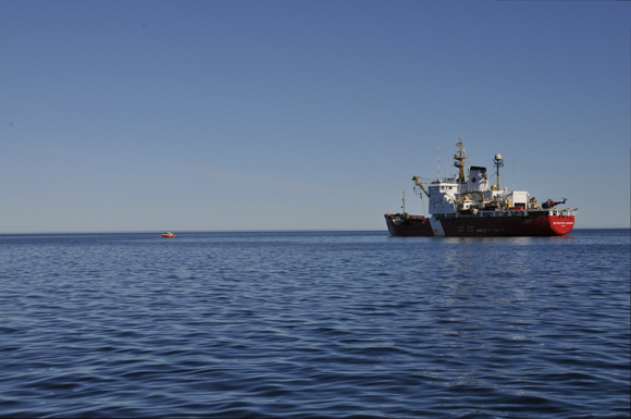 The Gannet slowly motors away from the Sir Wilfrid Laurier on August 21, 2011 - the first day of the survey.