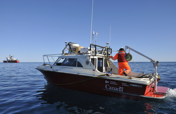 The Gannet is readied just prior to commencing surveying on August 21, 2011.