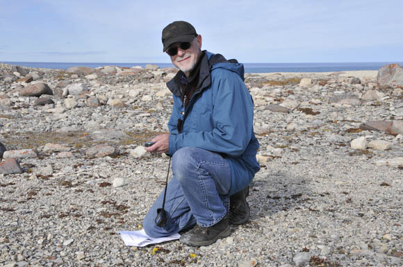 Doug Stenton recording at GPS position at the Cape Felix site.