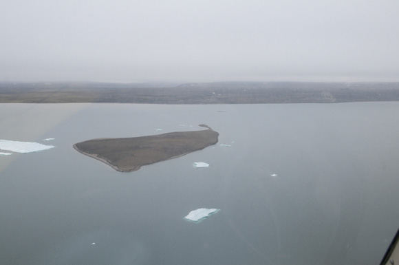 Mottley Island, Mercy Bay from the air.