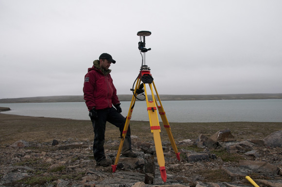 Henry Cary operating the survey-grade GPS at the Paleoeskimo site