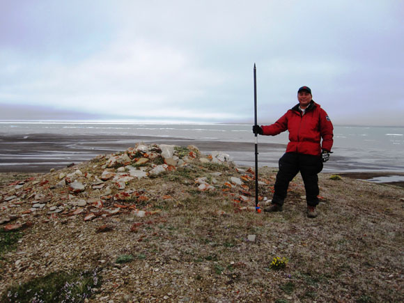 John Lucas Jr. at Providence point on the West coast of Mercy Bay, where McClure had his men erect a cairn.