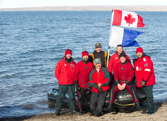 Underwater Archaeology Service HMS Investigator diving team, from left to right, back row: Brett Seymour (US National Park Service) , Jonathan Moore; front row: Thierry Boyer, Marc-André Bernier, Joe Kudlak, Ryan Harris, Filippo Ronca.