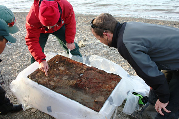 Marc-André Bernier and Henry Cary making close observation of the felt sheet recovered from the HMS Investigator wreck site. Felt was used as an isolating and waterproofing layer on this Arctic vessel.