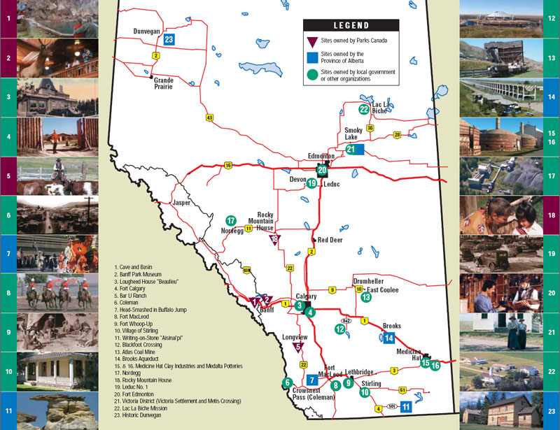 Map of National Historic Sites in Alberta