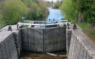 The lower lock at Kingston Mills is the final lock on the Rideau Canal