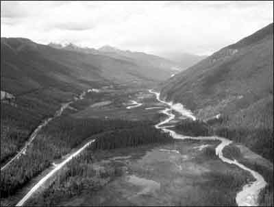 Beaver Valley in Glacier National Park divided by the Trans-Canada Highway and Canadian Pacific Railway's mainline.