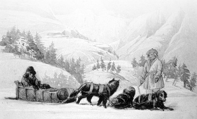 Father De Smet on dogsled by H.J. Warre.