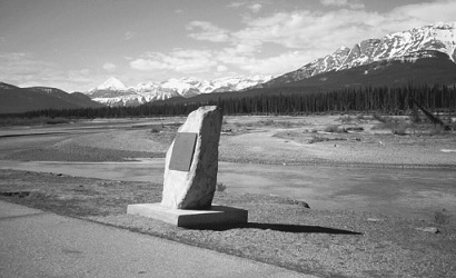 Historic Sites and Monuments Plaque for Jasper House National Historic Site on Highway 16 in Jasper National Park.