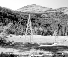 The Wellhead at the First Oil Well National Historic Site in Waterton Lakes National Park.