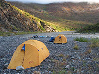 Camping at Eagle Nest campsite on the Firth River,  Ivvavik National Park.
