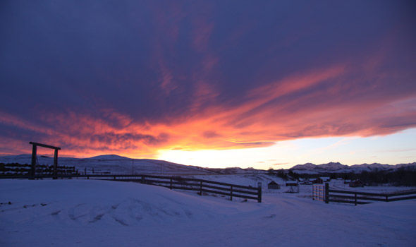 Winter sunset at the Bar U Ranch