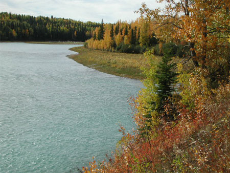 North Saskatchewan River on a fall day.
