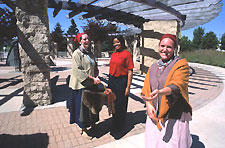 Parks Canada staff welcoming visitors at the Orientation Circle