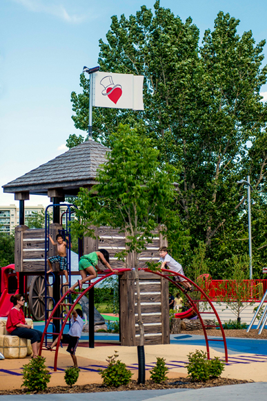 Children climbing the bastion and other play structures in the Fur Trade Zone of the Variety Heritage Adventure Park