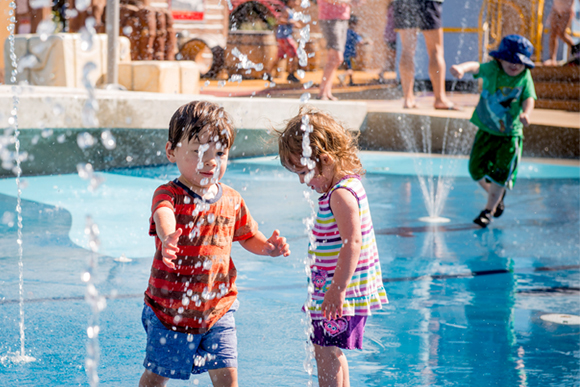 Children playing in the water park of the Variety Heritage Adventure Park