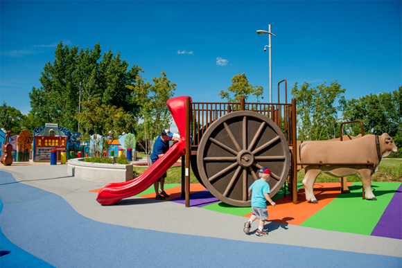 Slide down this fun version of a Red River Cart, a symbol of the Métis people