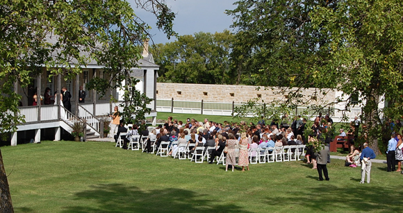 Wedding on front lawn of Big House