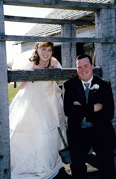 <br />Bride and groom outside the Blacksmith Shop