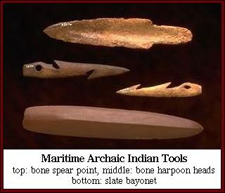Maritime Archaic Indian Tools (Top to bottom: bone spear point, bone harpoon heads, slate bayonet)