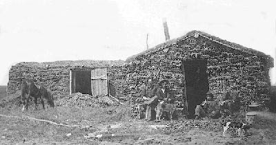 Pioneers outside sod house, near Coronation (Haneyville),